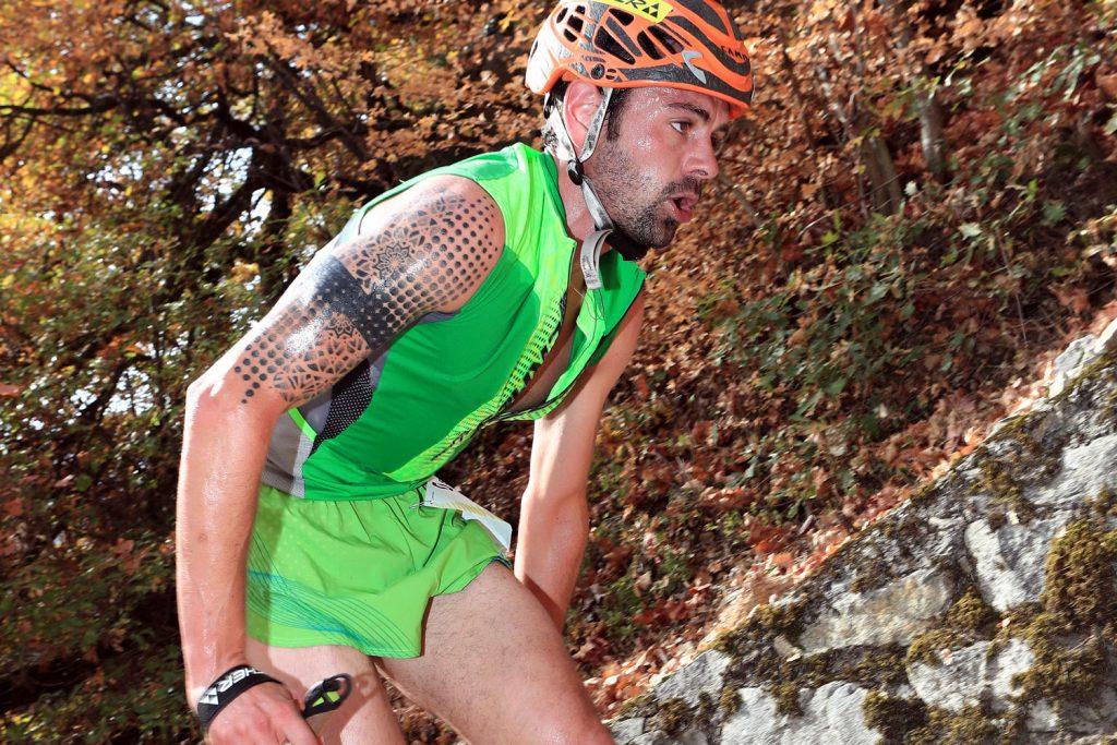 Italian Philip Goetsch on his way to the new world record. the Kilomètre Vertical® de Fully. ©Gérard Berthoud
