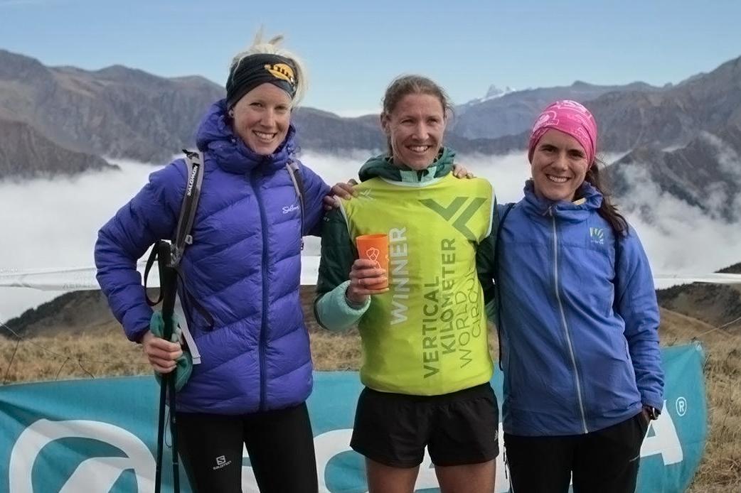 Women's podium Verticale du Grand Serre, Kreuzer, Dewalle and Jagercikova. ©VKWC