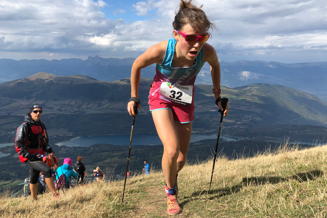 World record holder, Axelle Mollaret makes it look easy at Verticale du Grand Serre. ©MRSWS